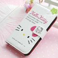 Hello Kitty Side Flip leather Case Holster Cover Skin for iPhone 5S - White 01
