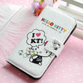 Hello Kitty Side Flip leather Case Holster Cover Skin for iPhone 5S - White 02