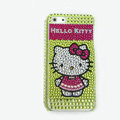 Hello kitty diamond Crystal Cases Bling Hard Covers for iPhone 5S - Green