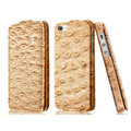 IMAK Ostrich Series leather Case holster Cover for iPhone 5S - Brown