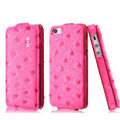 IMAK Ostrich Series leather Case holster Cover for iPhone 5S - Rose
