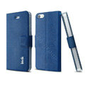 IMAK Squirrel lines leather Case support Holster Cover for iPhone 5S - Blue