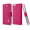 IMAK Squirrel lines leather Case support Holster Cover for iPhone 5S - Rose