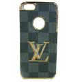 LOUIS VUITTON LV Luxury leather Cases Hard Back Covers Skin for iPhone 5S - Grey