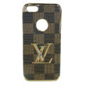LV LOUIS VUITTON Luxury leather Cases Hard Back Covers for iPhone 5S - Brown