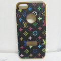 LV LOUIS VUITTON leather Cases Luxury Hard Back Covers Skin for iPhone 5S - Black