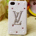 LV Louis Vuitton diamond Crystal Cases Bling Pearl Hard Covers for iPhone 5S - White