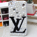 Louis Vuitton LV diamond Crystal Cases Bling Pearl Hard Covers for iPhone 5S - White