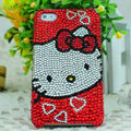Luxury Bling Hard Covers Hello kitty diamond Crystal Cases for iPhone 5S - Red