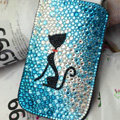 Luxury Bling Holster Covers Cat Crystal diamond Cases for iPhone 5S - Blue