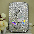 Luxury Bling Holster Covers Swan diamond Crystal Cases for iPhone 5S - White