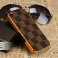 Luxury LV LOUIS VUITTON Ultrathin Metal edge Hard Back Cases Covers for iPhone 5S - Brown