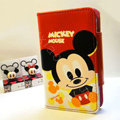 Mickey Mouse Side Flip leather Case Holster Cover Skin for iPhone 5S - Red