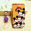 Mickey Mouse leather Case Side Flip Holster Cover Skin for iPhone 5S - Brown