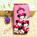 Minnie Mouse leather Case Side Flip Holster Cover Skin for iPhone 5S - Pink