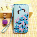 Stitch leather Case Side Flip Holster Cover Skin for iPhone 5S - Blue