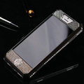 Swarovski Bling Metal Leather Case Cover Protective shell for iPhone 5S - Black