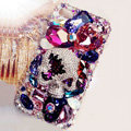 Swarovski Bling crystal Cases Skull Luxury diamond covers for iPhone 5S - Purple