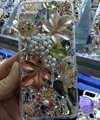 Swarovski crystal cases Bling Maple Leaf diamond cover for iPhone 5S - White