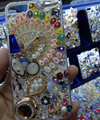Swarovski crystal cases Bling Peacock diamond cover for iPhone 5S - White