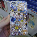 Swarovski crystal cases Flower Bling diamond pearl covers for iPhone 5S - Blue