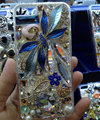 Swarovski crystal cases Flower Rabbit Bling diamond cover skin for iPhone 5S - Blue