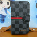 LV LOUIS VUITTON Classic plaid leather case Holster cover for Samsung GALAXY NoteIII 3 - Gray