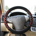 Burberry Auto Car Steering Wheel Cover Matte PU Leather Lattice Diameter 15 inch 38CM - Red