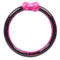 Hello Kitty Auto Car Steering Wheel Cover PVC Plastic Bowknot Point Diameter 14 inch 36CM - Rose