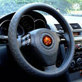 LV Auto Car Steering Wheel Cover PU Leather Embossing Diameter 15 inch 38CM - Black