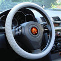 LV Auto Car Steering Wheel Cover PU Leather Embossing Diameter 15 inch 38CM - Gray