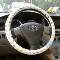 LV Auto Car Steering Wheel Cover PU Leather Flower Diameter 16 inch 40CM - White