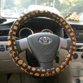 LV Auto Car Steering Wheel Cover PU Leather Flower Diameter 15 inch 38CM - Yellow