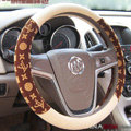 LV Auto Car Steering Wheel Cover PU Leather Flower Diameter 15 inch 38CM - Brown Beige
