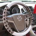LV Auto Car Steering Wheel Cover PU Leather Flower Diameter 15 inch 38CM - Gray White