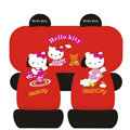 Hello Kitty Universal Auto Car Seat Cover Set Cotton 10pcs - Red+Black
