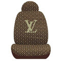 LV LOUIS VUITTON Universal Auto Car Seat Cover Set Cotton 10pcs - Brown