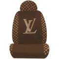 LV LOUIS VUITTON Universal Auto Car Seat Cover Set Cotton 10pcs - Coffee