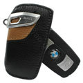 Nasili Auto Key Bag Pocket Cowhide Leather Car Key Case Holder Cover Key Chain for BMW - Brown
