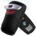 Nasili Auto Key Bag Pocket Cowhide Leather Car Key Case Holder Cover Key Chain for BMW - Red