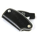Nasili Auto Key Bag Pocket Cowhide Leather Car Key Case Holder Cover Key Chain for Benz - Black