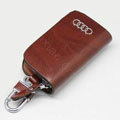 Nasili Wood grain Audi Logo Auto Key Bag Genuine Leather Pocket Car Key Case Cover Key Chain - Brown