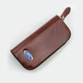 Nasili Wood grain Ford Logo Auto Key Bag Genuine Leather Pocket Car Key Case Cover Key Chain - Brown
