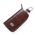 Nasili Wood grain KIA Logo Auto Key Bag Genuine Leather Pocket Car Key Case Cover Key Chain - Brown