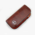 Nasili Wood grain Lexus Logo Auto Key Bag Genuine Leather Pocket Car Key Case Cover Key Chain - Brown