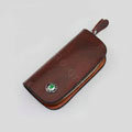Nasili Wood grain Skoda Logo Auto Key Bag Genuine Leather Pocket Car Key Case Cover Key Chain - Brown