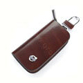 Nasili Wood grain Volvo Logo Auto Key Bag Genuine Leather Pocket Car Key Case Cover Key Chain - Brown