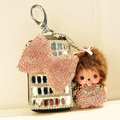 Bowknot Crystal Genuine Leather Auto Car Key Bag Case Pocket Monchhichi Key Chain - Pink