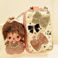 Bowknot Crystal Genuine Leather Car Auto Key Bag Case Pocket Monchhichi Key Chain - Pink