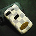 LV classic plaid leather Case Hard Back Cover for HTC Desire S G12 S510e - Beige